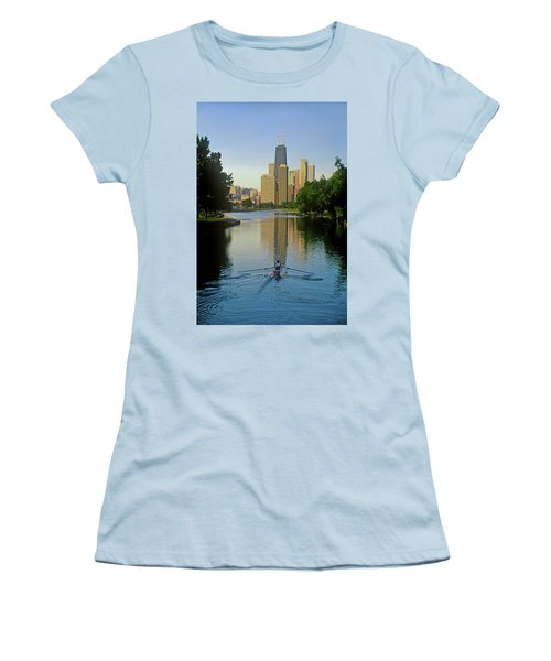 Rower On Chicago River With Skyline Women's T-Shirt (Athletic Fit)