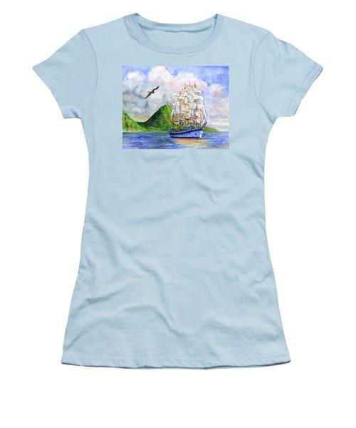 Royal Clipper Leaving St. Lucia Women's T-Shirt (Junior Cut) by John D Benson