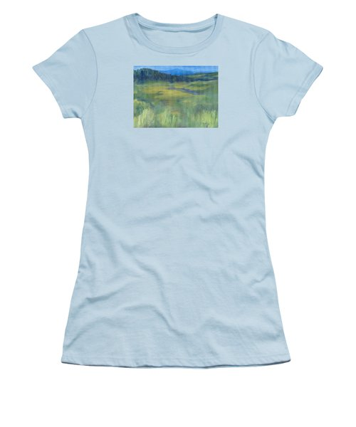 Rural Valley Landscape Colorful Original Painting Washington State Water Mountains K. Joann Russell Women's T-Shirt (Junior Cut) by Elizabeth Sawyer