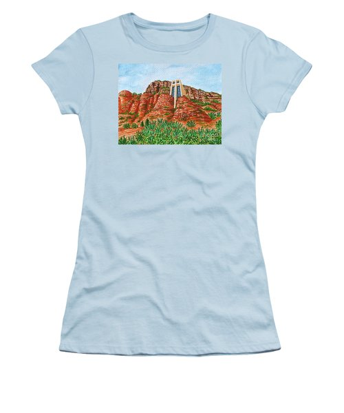 Women's T-Shirt (Junior Cut) featuring the painting Sadona Church by Val Miller