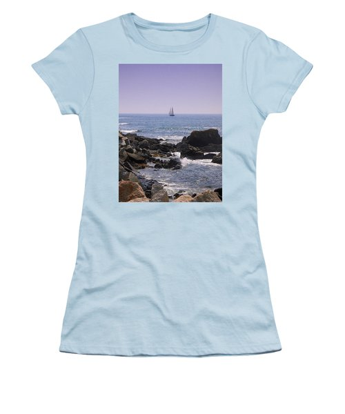Sailboat - Maine Women's T-Shirt (Junior Cut) by Photographic Arts And Design Studio