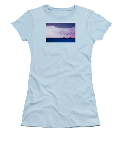 Women's T-Shirt (Junior Cut) featuring the photograph Sailboats At Sunset by Don Schwartz
