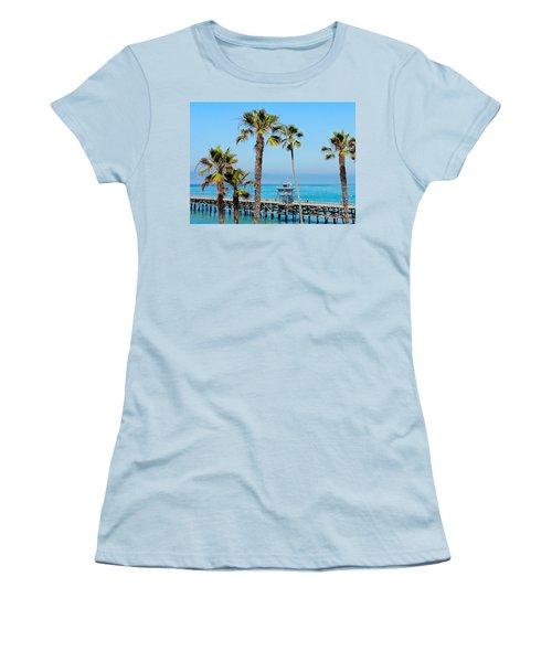 San Clemente Pier Women's T-Shirt (Junior Cut) by Suzanne Oesterling