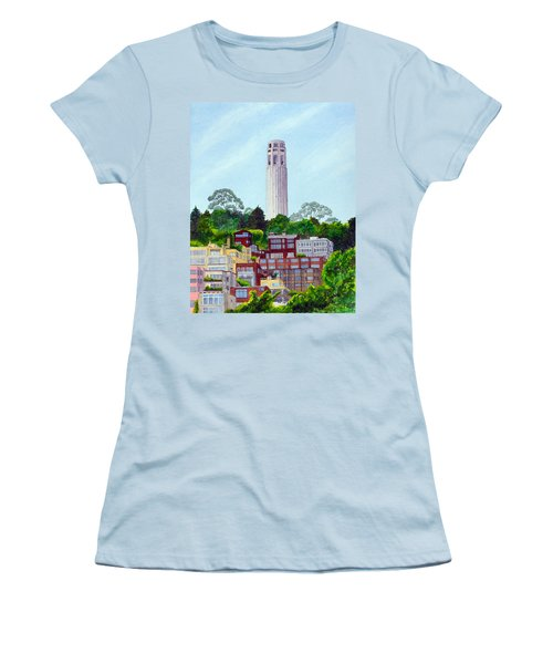 San Francisco's Coit Tower Women's T-Shirt (Junior Cut) by Mike Robles