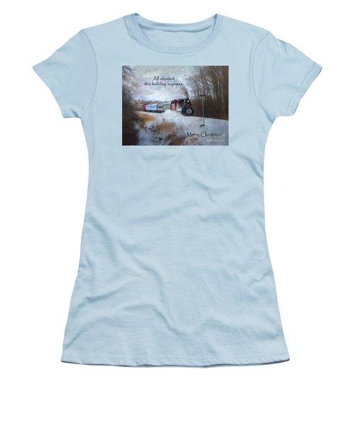 Women's T-Shirt (Junior Cut) featuring the digital art Santa Train - Waterloo Central Railway by Lianne Schneider