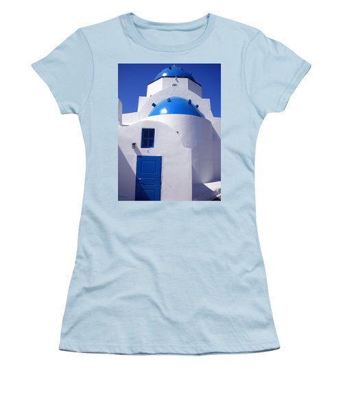 Women's T-Shirt (Junior Cut) featuring the photograph Santorini Church  by Colette V Hera  Guggenheim