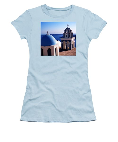 Women's T-Shirt (Junior Cut) featuring the photograph Santorini  Island Church Greece  by Colette V Hera  Guggenheim