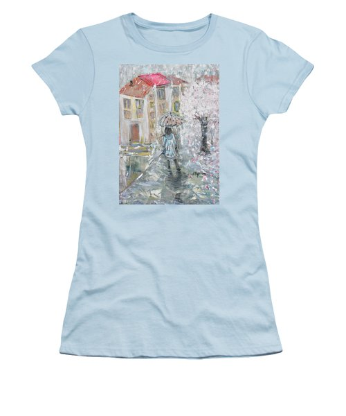 Women's T-Shirt (Junior Cut) featuring the painting Scent Of Spring by Evelina Popilian