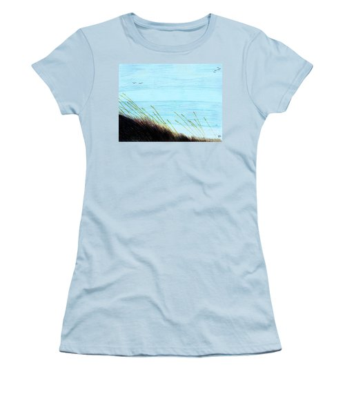 Women's T-Shirt (Junior Cut) featuring the drawing Sea Oats In The Wind Drawing by D Hackett