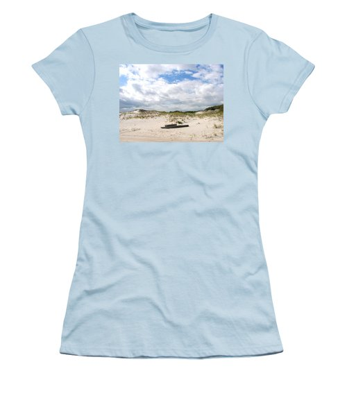 Women's T-Shirt (Junior Cut) featuring the photograph Seaside Driftwood And Dunes by Pamela Hyde Wilson
