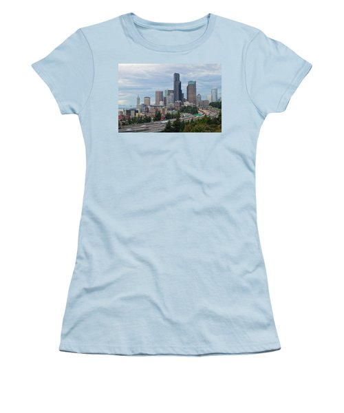 Women's T-Shirt (Junior Cut) featuring the photograph Seattle Downtown Skyline On A Cloudy Day by JPLDesigns