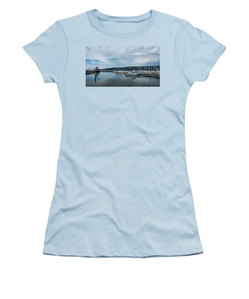 Seneca Lake Harbor - Watkins Glen - Wide Angle Women's T-Shirt (Junior Cut) by Photographic Arts And Design Studio
