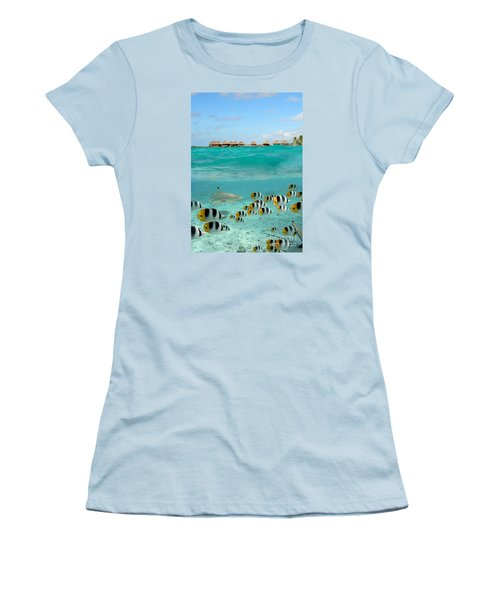 Over-under With Shark And Butterfly Fish At Bora Bora Women's T-Shirt (Junior Cut) by IPics Photography