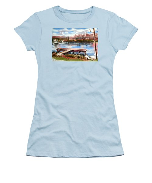 Shepherd Mountain Lake In Winter Women's T-Shirt (Junior Cut) by Kip DeVore