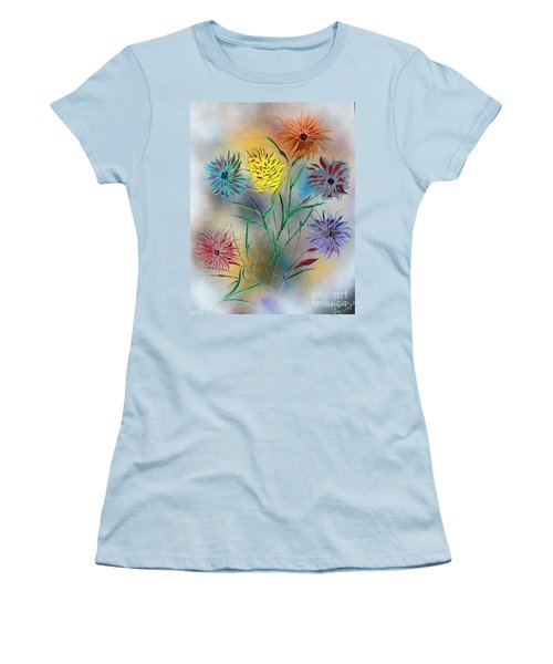 Women's T-Shirt (Junior Cut) featuring the painting Six Flowers by Greg Moores