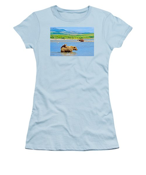 Six-month-old Cub Riding On Mom's Back To Cross Moraine River In Katmai National Preserve-alaska Women's T-Shirt (Athletic Fit)