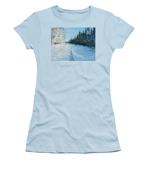 Women's T-Shirt (Junior Cut) featuring the painting Ski Tracks by Martin Howard