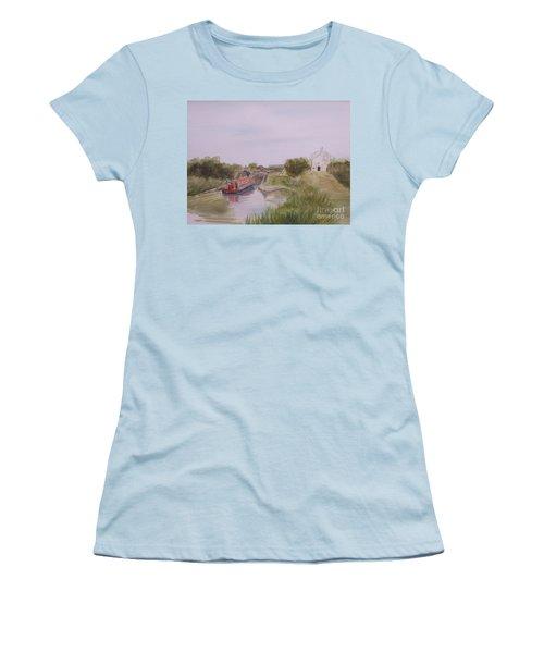 Women's T-Shirt (Junior Cut) featuring the painting Slapton Lock by Martin Howard