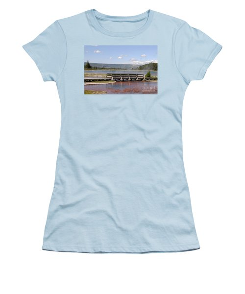 Women's T-Shirt (Junior Cut) featuring the photograph Smoke On The Water by Mary Carol Story