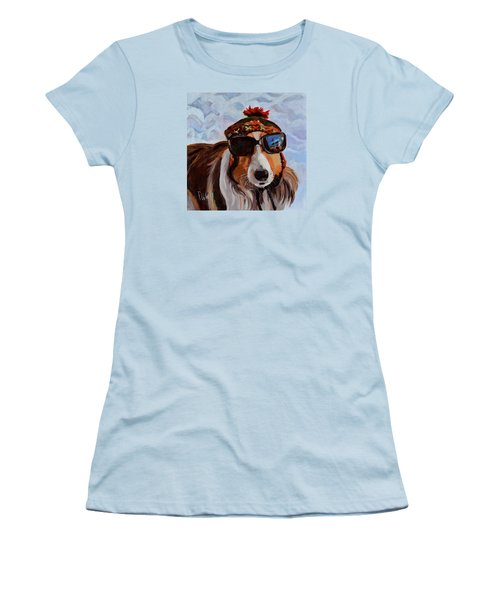 Snow Dog Women's T-Shirt (Junior Cut) by Pattie Wall