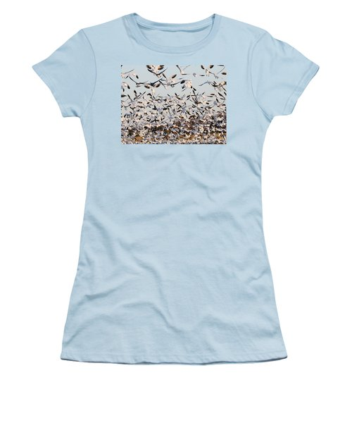 Snow Geese Takeoff From Farmers Corn Field. Women's T-Shirt (Athletic Fit)