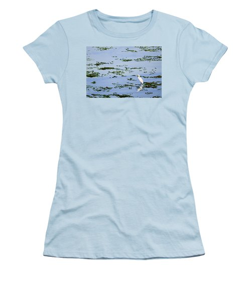 Snowy Egret Women's T-Shirt (Junior Cut) by Mike Robles