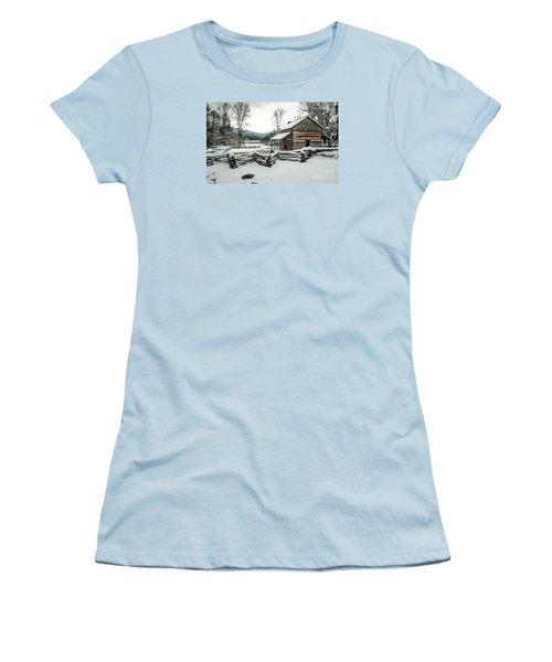 Women's T-Shirt (Junior Cut) featuring the photograph Snowy Log Cabin by Debbie Green