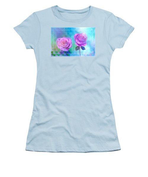 Women's T-Shirt (Junior Cut) featuring the painting Soft And Beautiful Roses by Annie Zeno