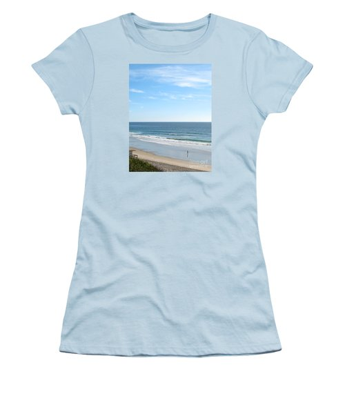 Solo Walk On Southern California Beach Women's T-Shirt (Junior Cut) by Connie Fox