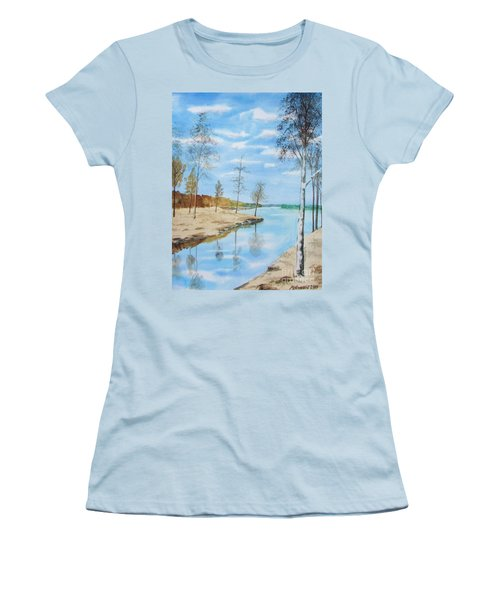 Women's T-Shirt (Junior Cut) featuring the painting Somewhere In Dalarna by Martin Howard