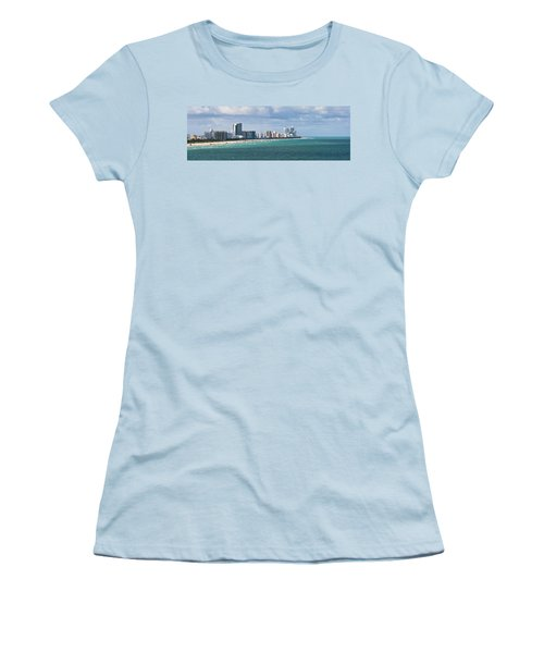 South Beach On A Summer Day Women's T-Shirt (Junior Cut) by Ed Gleichman