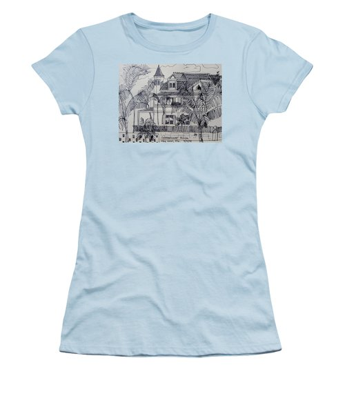 Women's T-Shirt (Junior Cut) featuring the mixed media Southernmost House  Key West Florida by Diane Pape