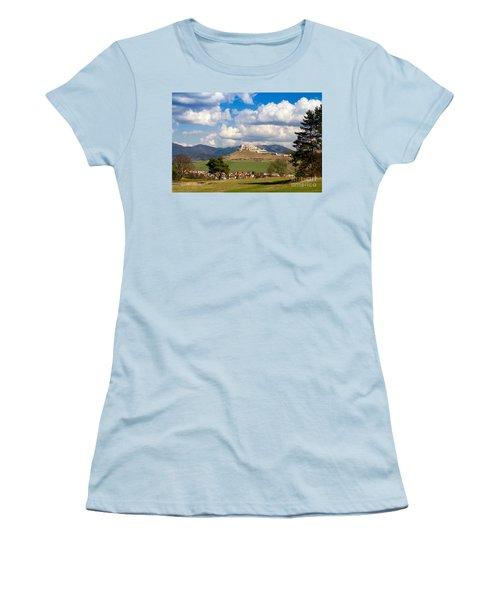 Women's T-Shirt (Junior Cut) featuring the photograph Spissky Hrad - Castle by Les Palenik