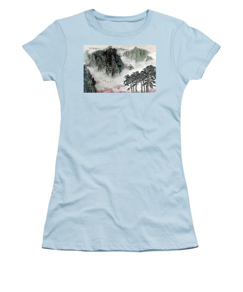 Spring Mountains And The Great Wall Women's T-Shirt (Junior Cut) by Yufeng Wang