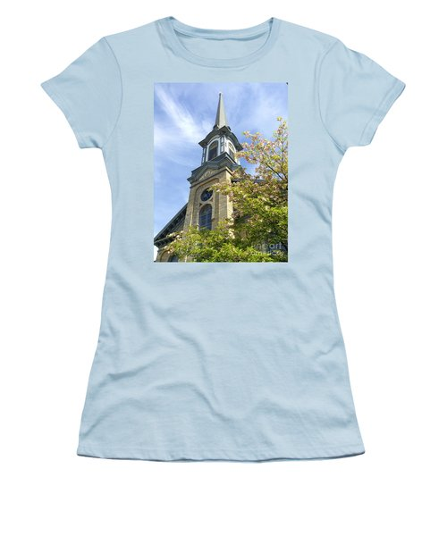 Women's T-Shirt (Junior Cut) featuring the photograph Steeple Church Arch Windows by Becky Lupe