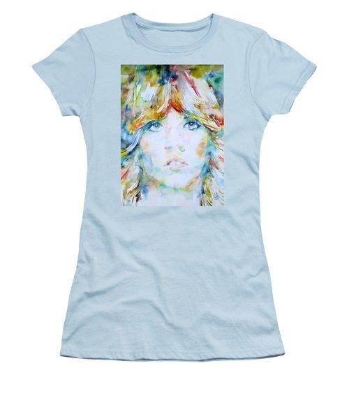 Stevie Nicks - Watercolor Portrait Women's T-Shirt (Junior Cut) by Fabrizio Cassetta