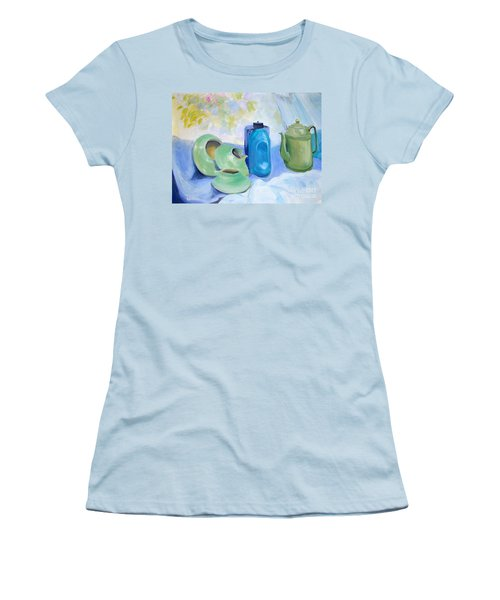 Women's T-Shirt (Junior Cut) featuring the painting Still Life In Blue And Green Pottery by Greta Corens