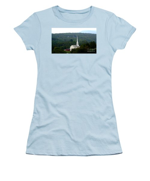 Women's T-Shirt (Junior Cut) featuring the photograph Stowe Community Church by Patti Whitten