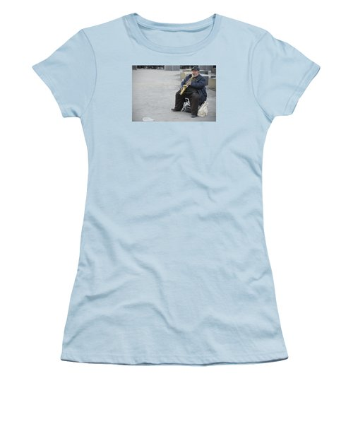 Women's T-Shirt (Junior Cut) featuring the photograph Street Musician - The Gypsy Saxophonist 3 by Teo SITCHET-KANDA
