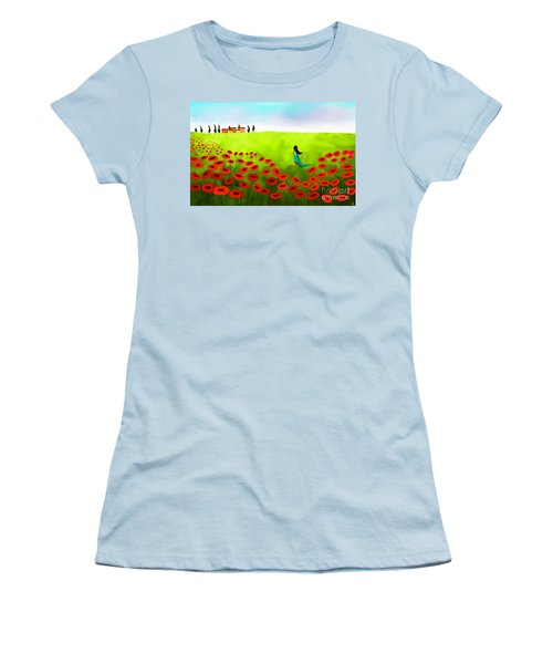 Strolling Among The Red Poppies Women's T-Shirt (Junior Cut) by Anita Lewis