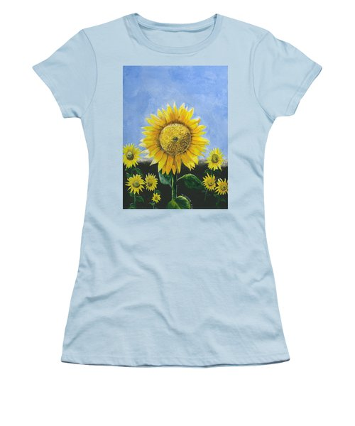 Women's T-Shirt (Athletic Fit) featuring the painting Sunflower Series One by Thomas J Herring