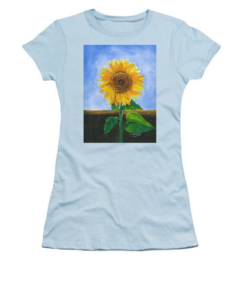 Women's T-Shirt (Athletic Fit) featuring the painting Sunflower Series Two by Thomas J Herring