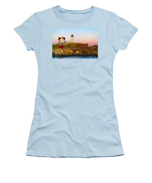 Sunset At Nubble Lighthouse Women's T-Shirt (Athletic Fit)