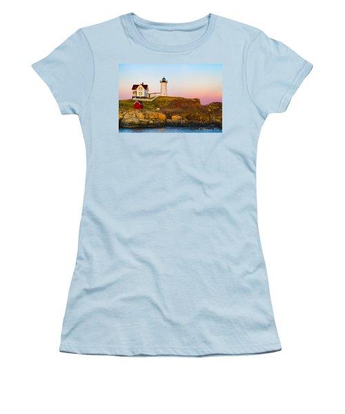 Sunset At Nubble Lighthouse Women's T-Shirt (Junior Cut)