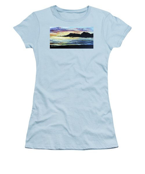 Women's T-Shirt (Junior Cut) featuring the painting Sunset Beach by Shana Rowe Jackson