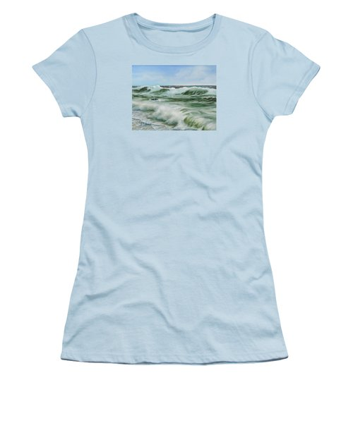 Women's T-Shirt (Junior Cut) featuring the painting Surf At Castlerock by Barry Williamson