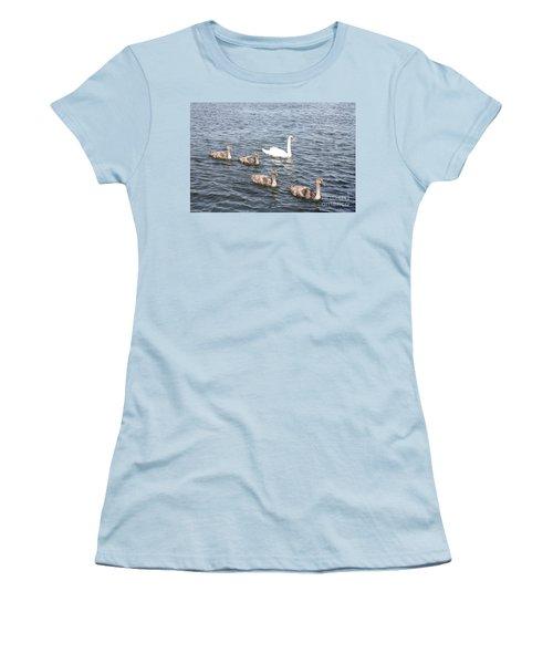 Swan And His Ducklings Women's T-Shirt (Junior Cut) by John Telfer