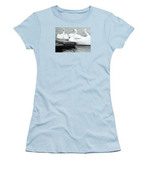 Women's T-Shirt (Junior Cut) featuring the photograph White Swan Lake by Belinda Lee