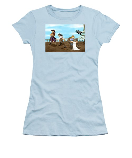 Women's T-Shirt (Junior Cut) featuring the painting Tammy And The Pirates by Reynold Jay