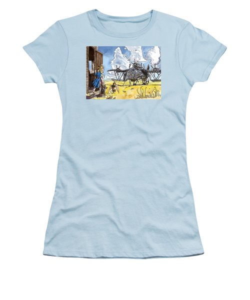 Women's T-Shirt (Junior Cut) featuring the painting Tammy Sees A Thingamajig by Reynold Jay